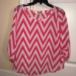 pink and white chevron blouse